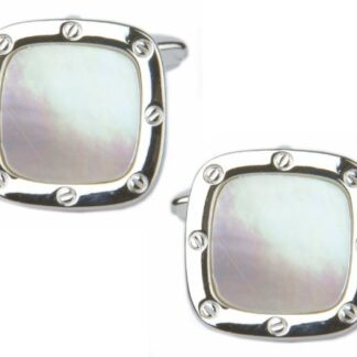 Mother of Pearl Cushion Shaped Porthole Cufflinks in rhodium plate from Dalaco