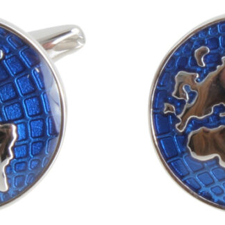 World Map in Blue and Silver Round Cufflinks in rhodium plate from Dalaco