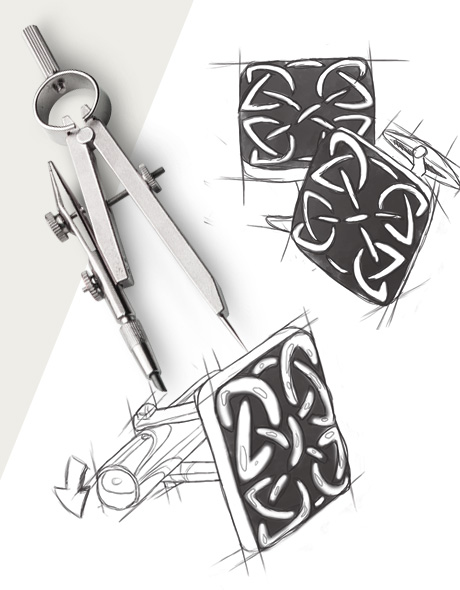 Dalaco picture of a compass and hand drawn cufflink design