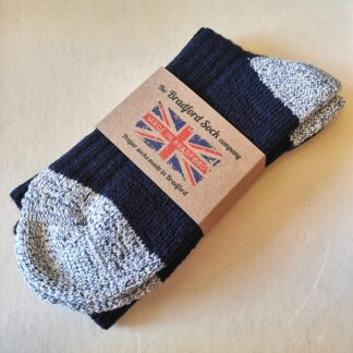Walking Socks in Cotton and Wool in Navy and Blue Grey Fleck by The Bradford Sock Company