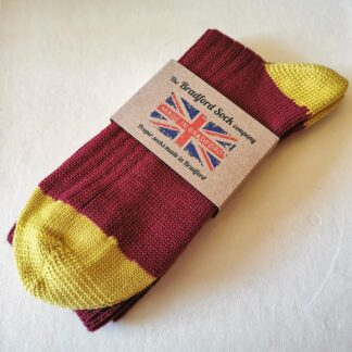 Wool Socks Mid Weight in Claret and Amber by The Bradford Sock Company
