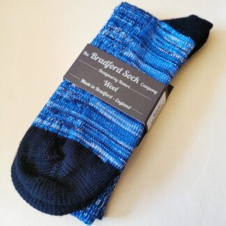 Wool Socks in Sparkly Blue Marl with Black heel and toe by The Bradford Sock Company