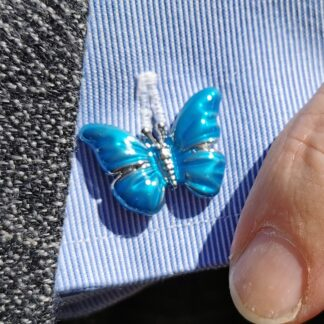 Lifestyle close up Butterflies Cufflinks from Dalaco