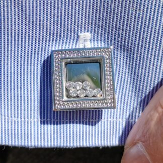 Lifestyle close up Moving Crystals and Square Patterned Edge Cufflinks from Dalaco
