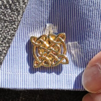 Celtic Knot Pattern Cufflinks in gold plate from Dalaco - lifestyle close up