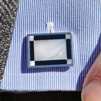 Lifestyle close up Rectangular Mother of Pearl and Onyx Cufflinks from Dalaco