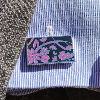 Lifestyle close up Black and Purple Floral Cufflinks from Dalaco