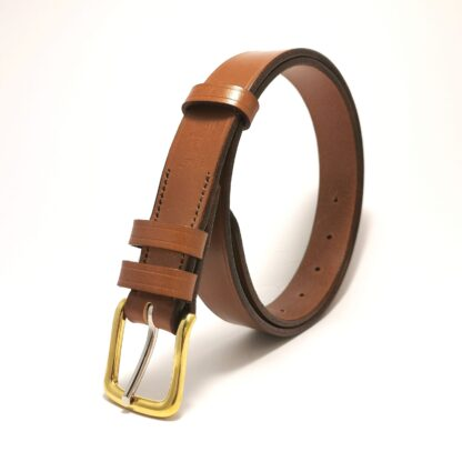 Classic Conker Brown Leather Belt by The Belt Makers standing