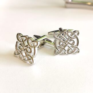 Celtic Knot cufflinks in silver coloured rhodium plate by Dalaco - standing