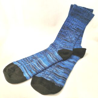 Wool socks an blue and black marl with black heel and toe by The Bradford Sock Company