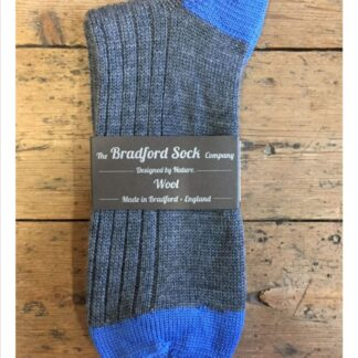 Wool Socks in Grey and Blue by The Bradford Sock Company