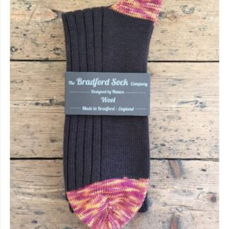 Wool Socks in Brown with Claret and Amber Marl by The Bradford Sock Company