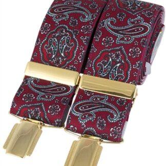 Burgundy Paisley Elastic Braces, made in England, from Dalaco, Crediton