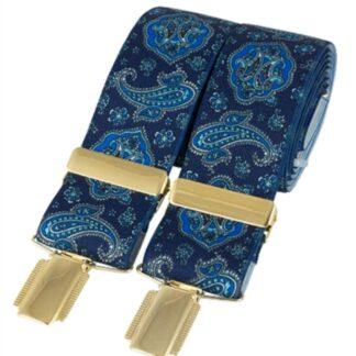 Blue Paisley Elastic Braces, made in England, from Dalaco, Crediton