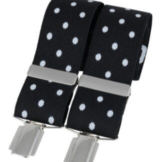 Black Polka Dot Elastic Braces, made in England, from Dalaco, Crediton