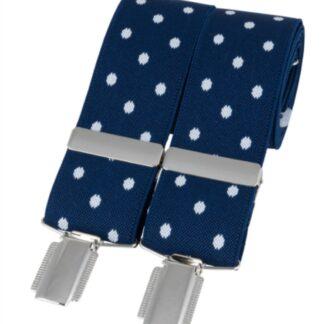 Blue Polka Dot Elastic Braces, made in England, from Dalaco, Crediton