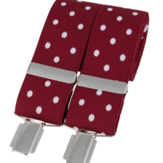 Red Polka Dot Elastic Braces, made in England, from Dalaco, Crediton