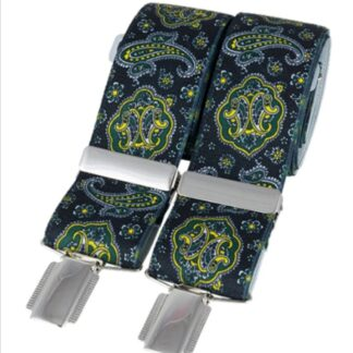 Black and Green Paisley Elastic Braces, made in England, from Dalaco, Crediton