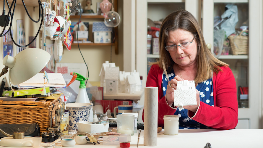 Alison, of Alison Miles Pottery, at work