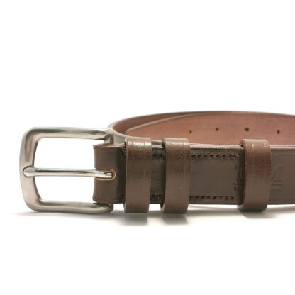 Classic Australian Nut Brown Leather Belt by The Belt Makers buckle