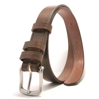 Classic Australian Nut Brown Leather Belt by The Belt Makers standing