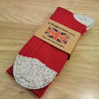 Cotton and Wool Socks in Red with grey flecked detail by The Bradford Sock Company