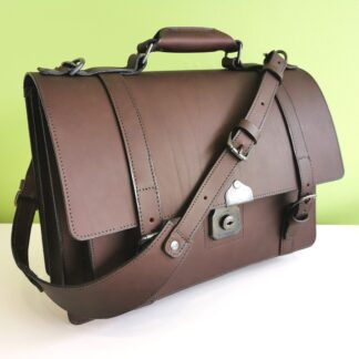 The Full Monty Briefcase in Dark Brown with gun metal silver coloured fittings by Henry Tomkins Leather - main image