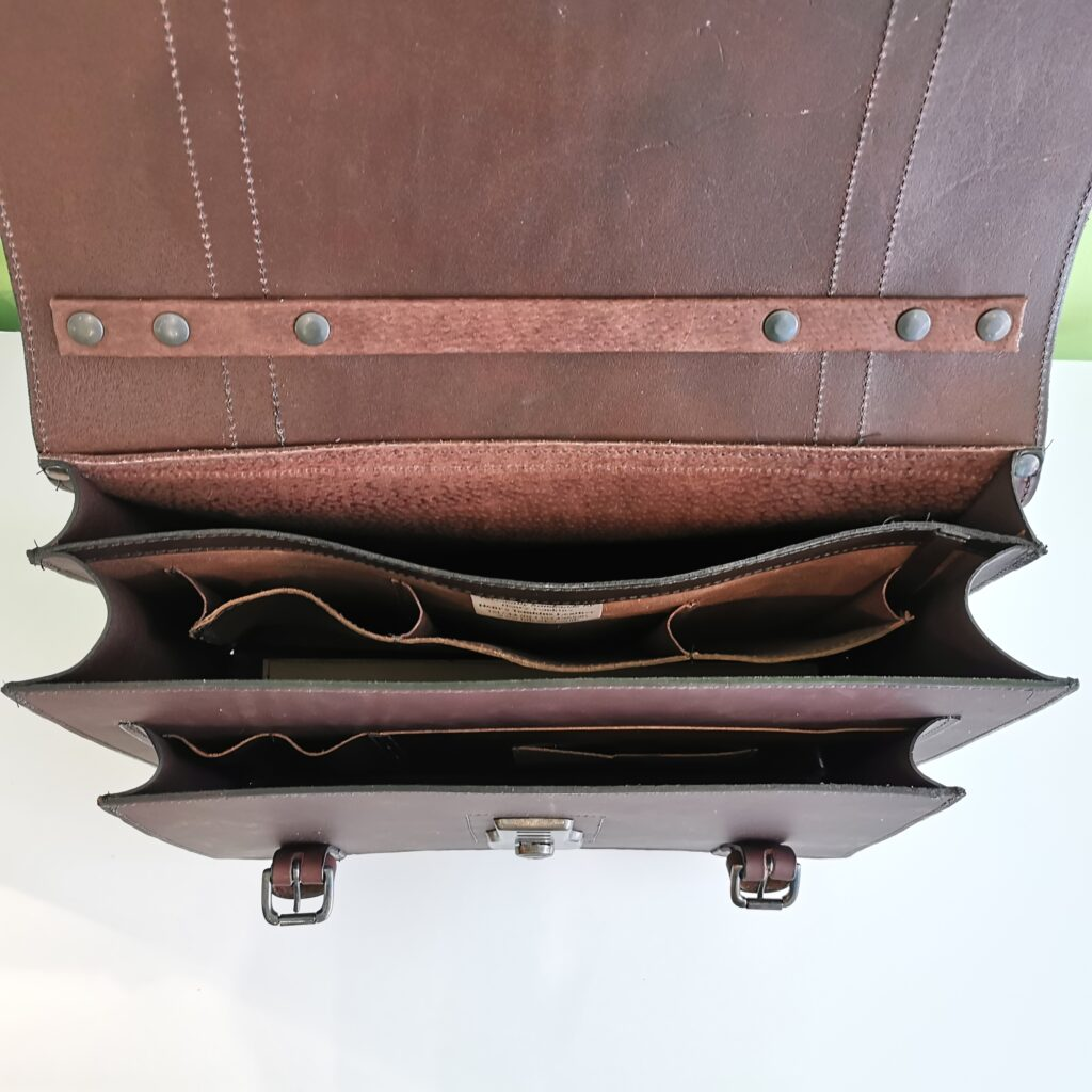 The Full Monty Briefcase in Dark Brown with gun metal silver coloured fittings by Henry Tomkins Leather - inside