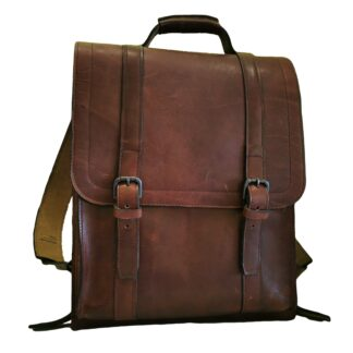 Large Bookbag by Henry Tomkins Leather in Dark Tan, main