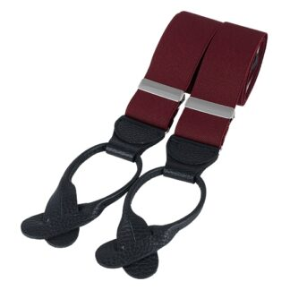 Burgundy and Black Rolled Leather End Braces, made in England, from Dalaco, Crediton
