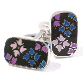 Cufflinks - Floral Fireworks Multicoloured Enamel from Dalaco - pose