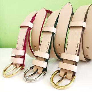 TBM Cream leather belts with red, green or brown trims