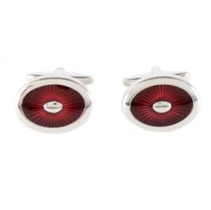 Cufflinks - Burgundy Starburst Enamel Oval