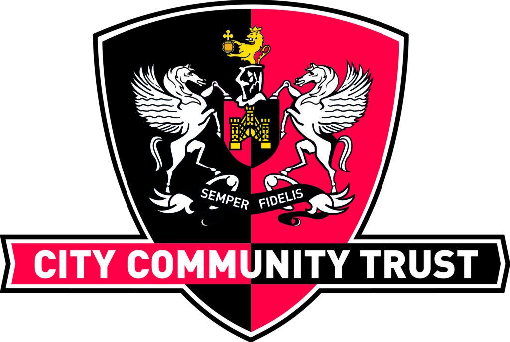 TBM's Marie runs London - Exeter CITY Community Trust logo