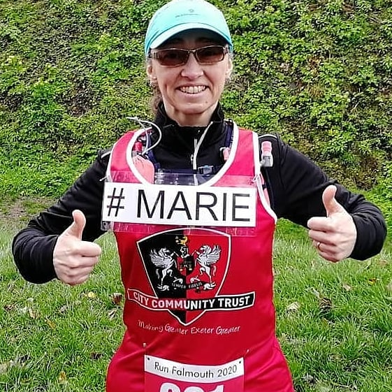 Marie before the Falmouth Half Marathon, March 2020