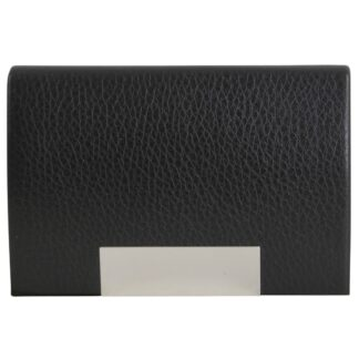 Black Leatherette Card Case with Engraving Plate closed from Dalaco