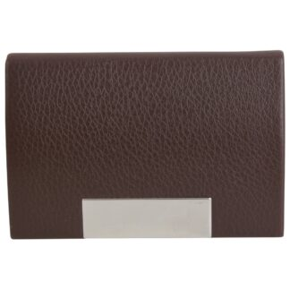 Brown Leatherette Card Case with Engraving Plate closed from Dalaco
