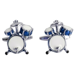 Cufflinks - Drum Kit in Blue and White Enamel