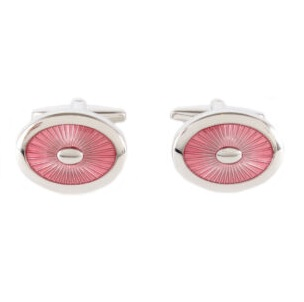 Cufflinks - Pink Starburst Enamel Oval
