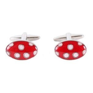 Cufflinks - Red Polka Dot Enamel