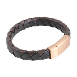Bracelet - Brown Plaited Stitched Leather B-15 from Dalaco