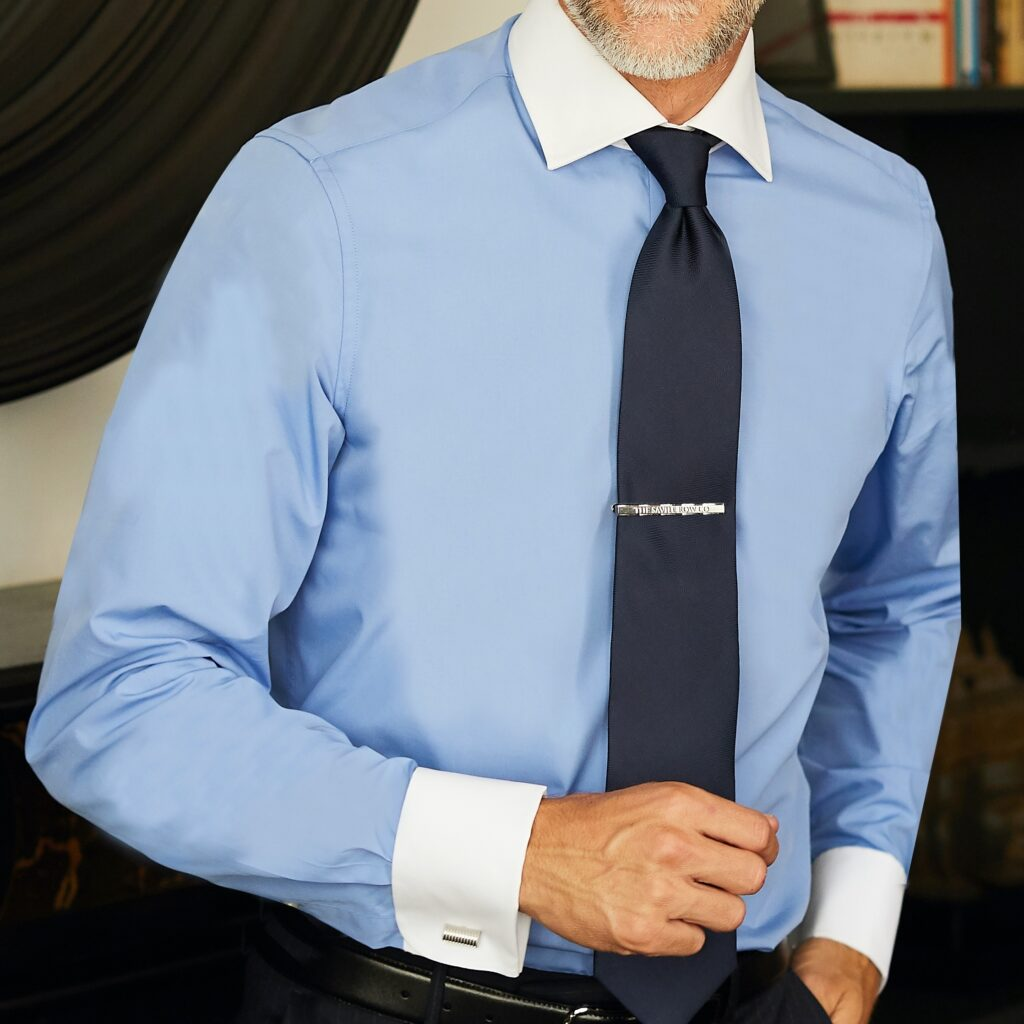 Model wearing French Blue Double Cuff shirt from Savile Row Company