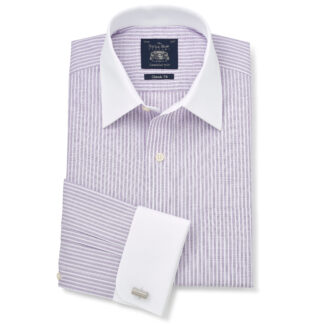 Lilac Textured Stripe Double Cuff shirt from Savile Row Company