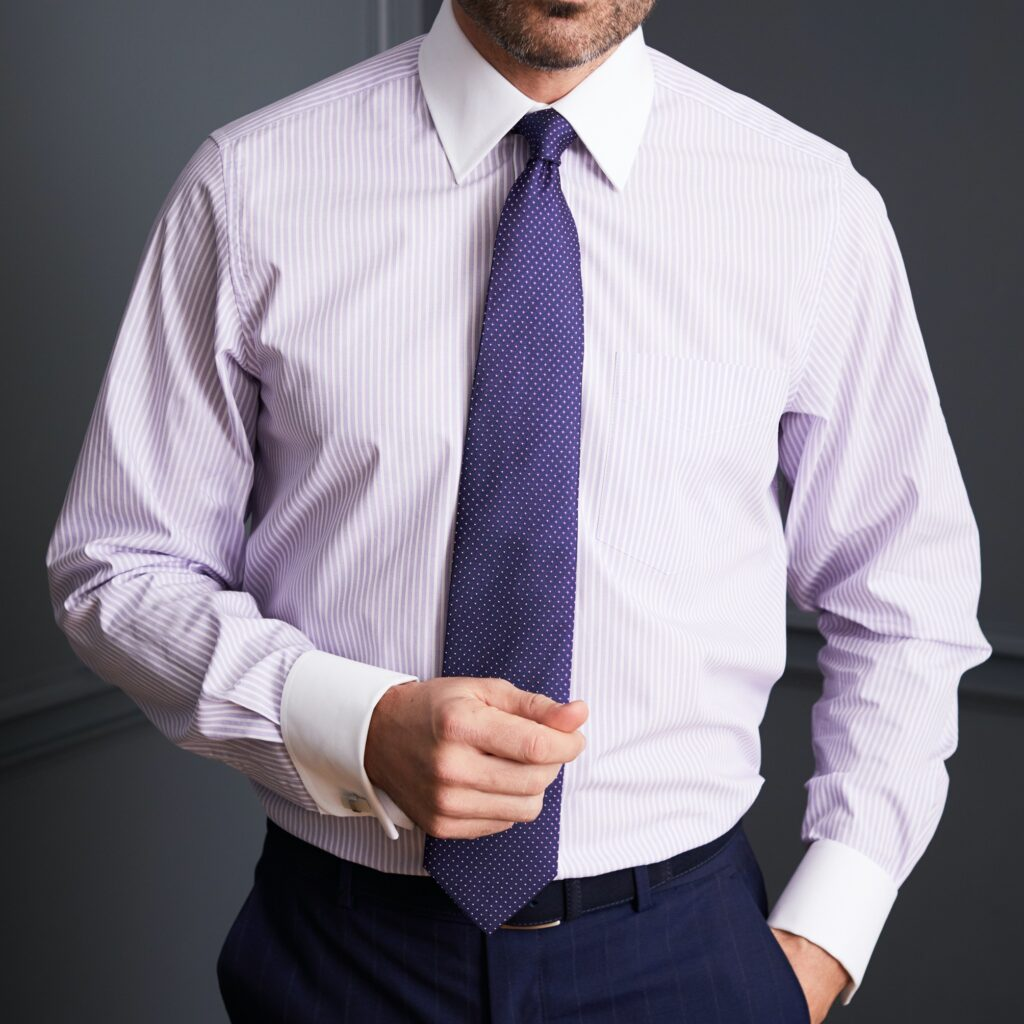 Model wearing Lilac Textured Stripe Double Cuff shirt from Savile Row Company