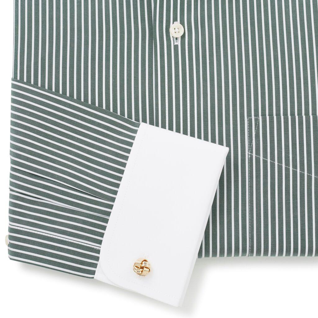Shirt, reverse stripe green, double cuff, from Savile Row Company