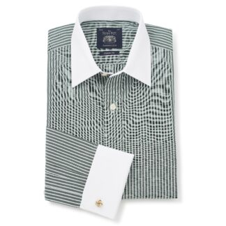 Green Reverse Stripe Double Cuff shirt from Savile Row Company