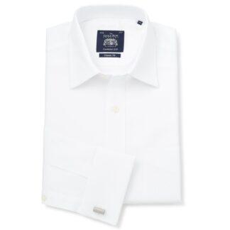 White Herringbone Double Cuff shirt from Savile Row Company
