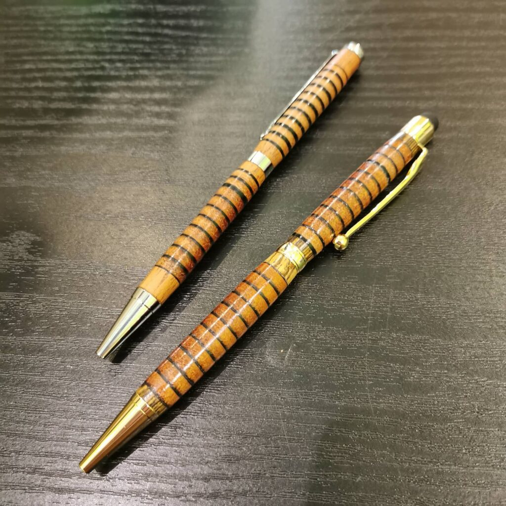 Natural colour stylus leather pens by Leather Pens of Somerset