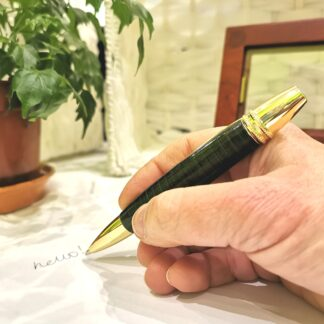 Leather Pen - Premier Green and Gold Classic by Leather Pens of Somerset, in hand