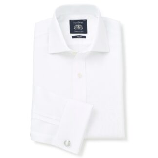 White Fine Twill Slim Fit Formal Shirt - Double Cuff by Savile row Company main